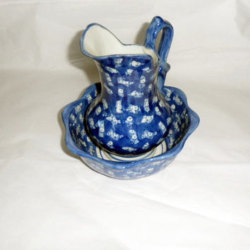 1970s BLUE FLOW Pitcher n Bowl Cream n Sugar Set/Useful for Large Gathering or Entertaining/Home Decor Accent/Use in Powder or Guest Rooms