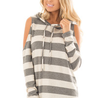 Oatmeal and Grey Striped Cold Shoulder Hoodie Top