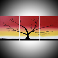 """ARTFINDER: triptych multi color 3 panel wall art color rainbow tree in wood """"The Rainbow Wood"""" 3 panel wall abstract canvas abstraction 54 x 24"""" by Stuart Wright - """"The Rainbow Tree"""" rainbow colors large tree ar..."""