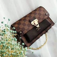 LV fashionable ladies casual shopping bag hot seller with checked printing and matching color
