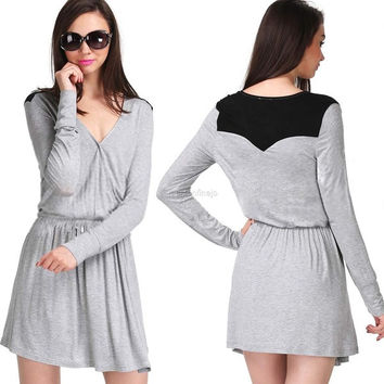 Women Grey Long Sleeve V Neck Casual Dress