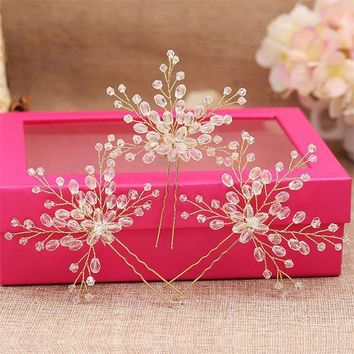 DCCKFV3 3pcs/set Fashion Handmade Clear Beads Wedding Bridal Flower Hair Pin Women Pageant Prom Bride Hair Sticks Pins Head Ornaments