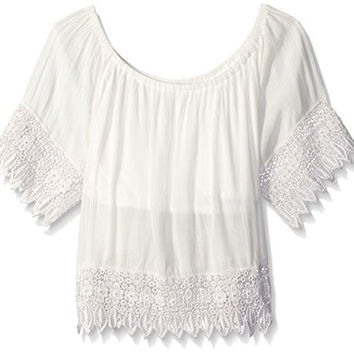 Kensie Big Girls Short Peasant Gauze Off The Shoulder Top, Vanilla, 7/8