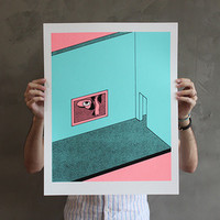 """Functional head in gallery setting"" 3 color screenprint from ELEVATOR TEETH SAD STORE"