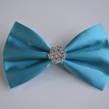 Hair bow-aqua satin, rhinestone hair bow, dancing school hair accessories,pageant, wedding hair bow