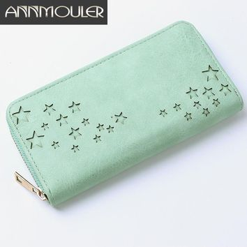 Annmouler Brand Women Wallets Leather Day Clutch Bag Laser Star Hollow Long Purse 2 Colors Zipper Billfold Credict Card Holder