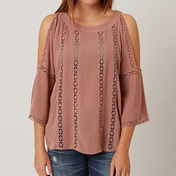 BKE RED COLD SHOULDER TOP