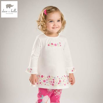 DB4380 davebella spring baby girl vintage style princess dress baby retro dress kids birthday clothes girls dots white dress