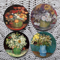 Vases of Flowers -- Van Gogh Mousepad Coaster Set