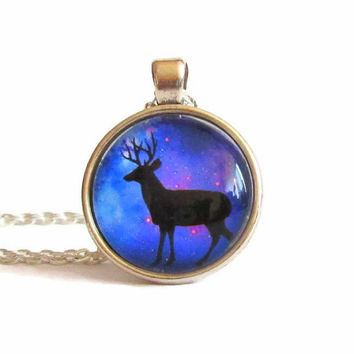 deer necklace,deer jewelry,deer charm,deer birthday,galaxy pendant necklace,animal charms,animal jewelry,animal necklace,space pendant,gifts