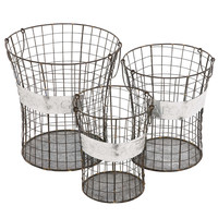 Benzara The Handy Set of 3 Metal Wire Basket