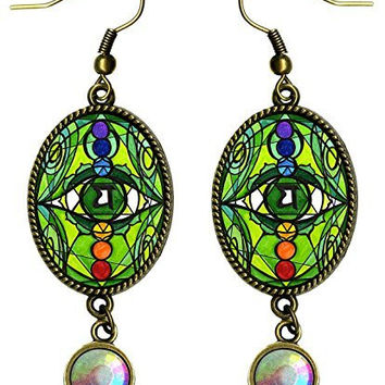 "4th Chakra Anahata Heart of All Matters Antique Bronze Gold Iridescent Rhinestone Long 2 1/2"" Dangling Earrings"
