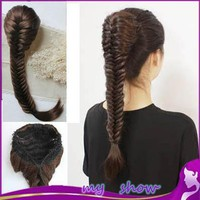 Synthetic Long Wavy Braided Hair 20inch Braid Fishbone Plait Ponytail  Elastic Drawstring
