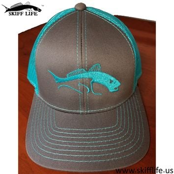 BRIGHT TEAL BLUE & Gray Mesh Back Fishing Hat by Skiff Life