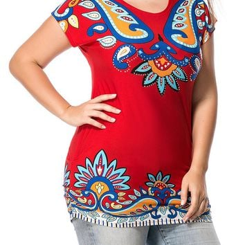 Streetstyle  Casual Round Neck Colorful Paisley Printed Plus Size T-Shirt