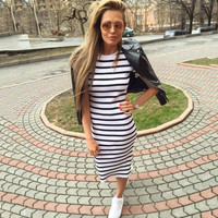 2016 Summer Autumn Striped Women Dress Black&white Bodycon Short Sleeve Casual Slim Pencil Dresses Plus Size
