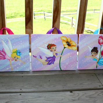 Set of 3 Fairy Stretched Canvases Girls Bedroom Baby Nursery CANVAS Bedroom Wall Art 3CS023