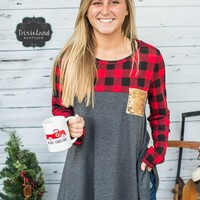 Buffalo Plaid Tunic with Sequins Pocket