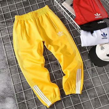 """Adidas"" Fashion Women Men Loose Exercise Sport Pants Stripe Trousers Boy Girl Sweatpants Yellow I-CY-MN"