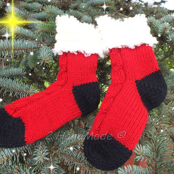 Knitted Red Socks Santa Christmas Decorations Xmas Handmade Merino Wool Women Men Teen Kids Big Size