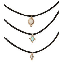 3 Colors All-match Turquoise Chokers Necklaces Alloy Cute Pendants Necklaces  Sets Necklace