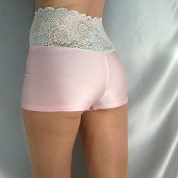 HIGH WAISTED BABY PINK WHITE LACE TOP SHINY SPANDEX SHORTS HOT PANTS XS-XXXL