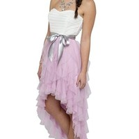 Two Tone Strapless High Low Dress with Tendril Skirt and Tie Waist