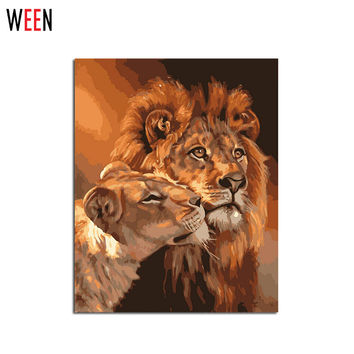 Frameless Lion Kings DIY Coloring Oil Painting By Numbers Kits Drawing Paint On Canvas For Wall Art Picture For living room