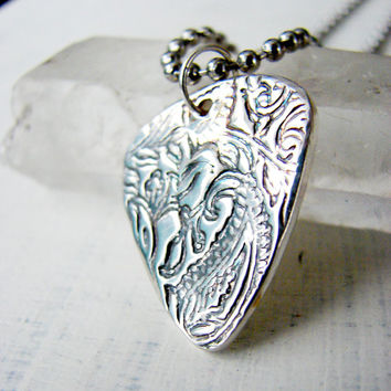 Silver Guitar Pick Necklace. Paisley Guitar Pick. One of a kind Guitar Pick
