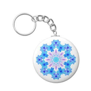 Flower Mandala Violet Blue Watercolor Floral Art Keychain
