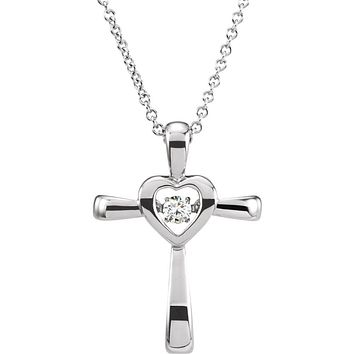 14k White Gold .08 CTW (I1, H-I) Diamond Heart Cross Necklace, 18 Inch