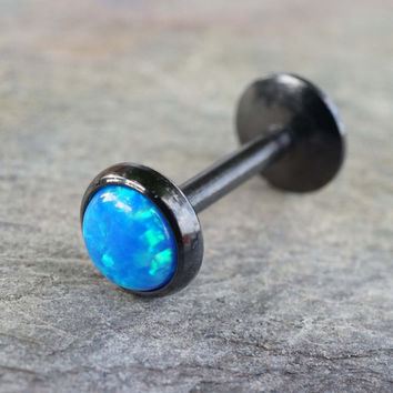Black IP Blue Fire Opal 16 Gauge Cartilage Earring Tragus Monroe Helix Piercing You Choose Stone Size