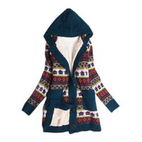 Discount Women Blue Sweater Small House Print Coat @T606blue