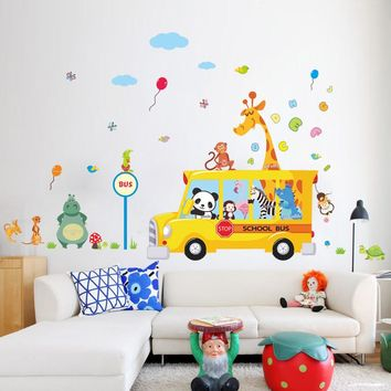 panda giraffe monkey animal school bus car home decal wall sticker for kids room child baby kindergarten funny birthday gift