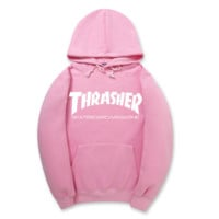 """Thrasher""New flame thickening hoodies sweater Two lines of letters Pink"