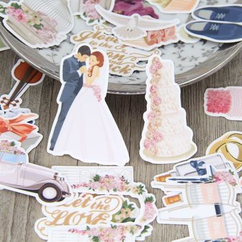 28pcs Wedding Party Cake Bride Scrapbooking Stickers DIY Craft Decorative Sticker Pack