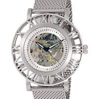 Adee Kaye AK2258-M/MESH Men's Watch Exhibition Dial With Silver Mesh Band