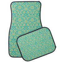 Teal Damask Car Mats