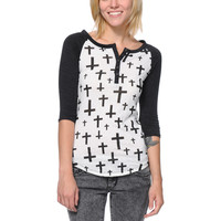 Empyre Girls Knox Black & White Cross Print Henley Shirt at Zumiez : PDP