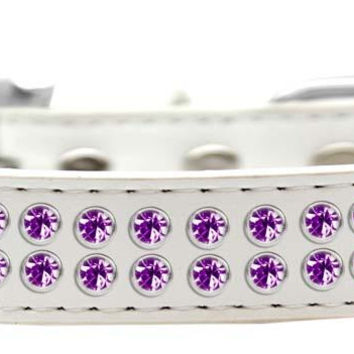 Two Row Purple Crystal Size 16 White Dog Collar