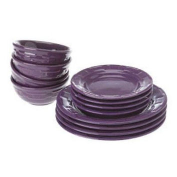 Longaberger Woven Traditions® Pottery 12-Pc Dinnerware Set -  EGGPLANT  **NEW***