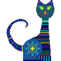 Bright blue tribal cat. Modern cross stitch pattern. Contemporary cross stitch. Tribal cross stitch.