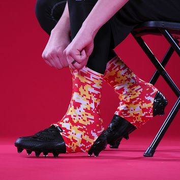 Digital Camo Yellow Red White Spats / Cleat Covers