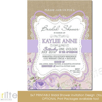 Bridal Shower Invitation - Burlap lace lilac beige floral - 5x7 vintage style, typography, unique baby shower invitation - You Print