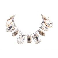GIANT MULTI GEM WHITE CRYSTAL NECKLACE & GOLD FINDINGS - Tom Binns