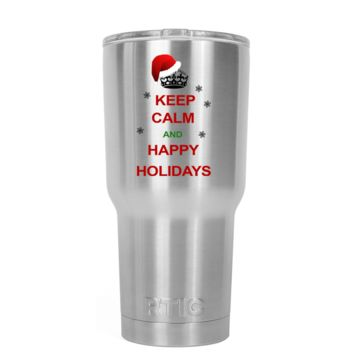 RTIC Keep Calm and Happy Holidays 20 oz Tumbler Cup