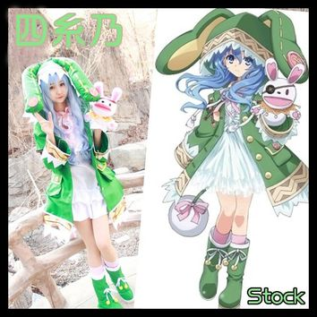 [Stock]+Wig+Shoes+Doll Anime DATE A LIVE figure Yoshino Hermit Jacket+Dress+Sockscosplay cosplay costume New S-XL free shipping
