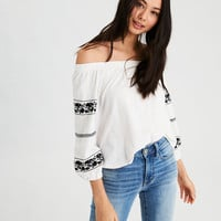 AE Off-The-Shoulder Embroidered Sleeve T-Shirt , Natural White