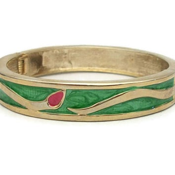 Vintage Green Enamel Gold Tone Hinged Bangle Bracelet Clamper Bracelet - Green and Fuchsia Pink Floral Flower Design - Flower Buds