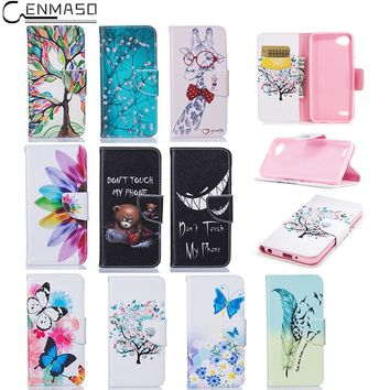 "CENMASO Case For LG Q6 5.5 "" Fashion Cartoon Pattern PU Leather Holster Flip Cover For LG G6 mini Wallet Card Mobile Phone Shell"